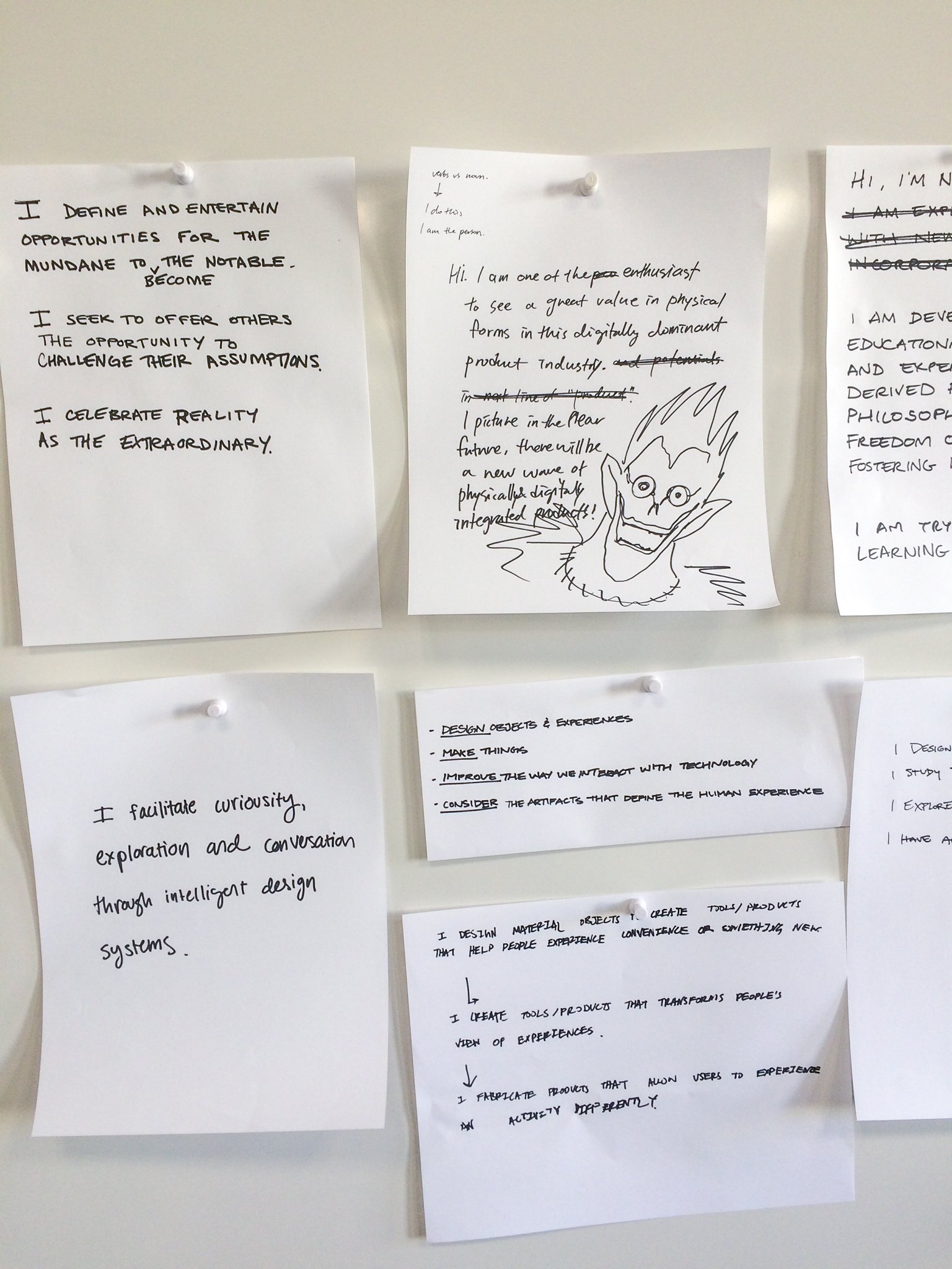 A selection of the students' self-descriptions of what they do
